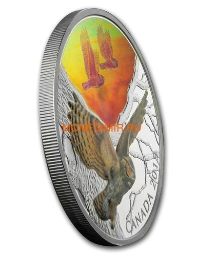 Канада 30 долларов 2019 Большая Рогатая Сова Величественные Птицы в Движении Голограмма (Canada 30$ 2019 Majestic Birds in Motion Great Horned Owls 2 oz Silver Hologram Coin).Арт.65 (фото, вид 2)