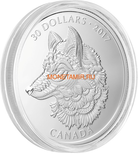 Канада 30 долларов 2017 Волк (Canada 30$ 2017 Wolf 2 oz Silver Coin).Арт.000703854364/60 (фото, вид 1)