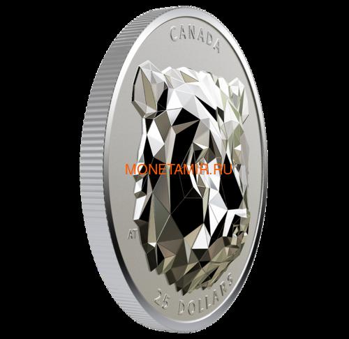 Канада 25 долларов 2019 Медведь Гризли Многогранная Голова (Canada 25$ 2019 Grizzly Bear Multifaceted Animal Head 1 oz Silver Coin).Арт.65 (фото, вид 1)