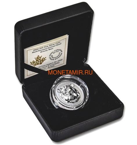 Канада 25 долларов 2019 Медведь Гризли Многогранная Голова (Canada 25$ 2019 Grizzly Bear Multifaceted Animal Head 1 oz Silver Coin).Арт.65 (фото, вид 3)