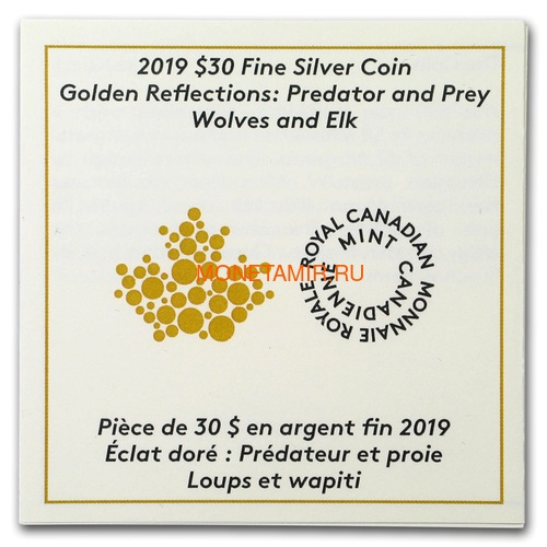 Канада 30 долларов 2019 Волки и Лоси Хищник и Добыча (Canada 30$ 2019 Predator and Prey Wolves and Elk 2 oz Gold Plated Silver Coin).Арт.65 (фото, вид 3)