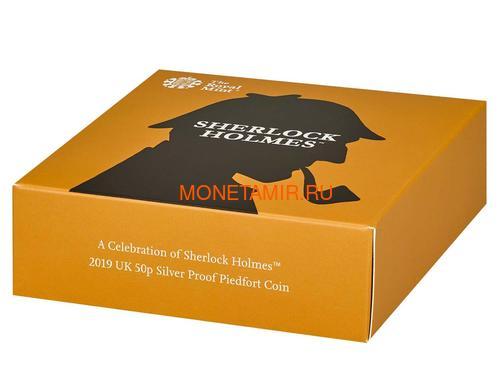 Великобритания 50 пенсов 2019 Шерлок Холмс Пьедфорт (UK 50 pence 2019 Sherlock Holmes Silver Proof Piedfort Coin).Арт.000648557624/65 (фото, вид 8)