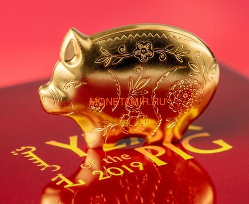 Монголия 1000 тугриков 2019 Веселая Свинья Фигурка (Mongolia 1000 Togrog 2019 Gilded Jolly Pig Silver Coin 1oz).Арт.000697957128/65 (фото, вид 2)