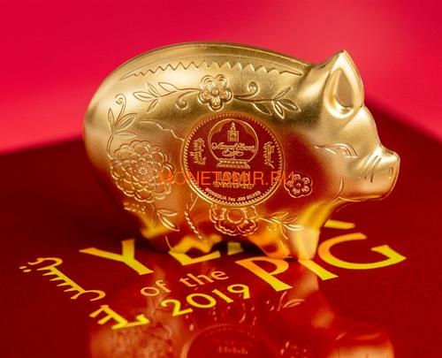 Монголия 1000 тугриков 2019 Веселая Свинья Фигурка (Mongolia 1000 Togrog 2019 Gilded Jolly Pig Silver Coin 1oz).Арт.000697957128/65 (фото, вид 3)