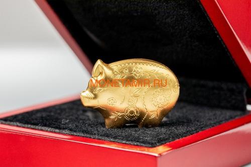 Монголия 1000 тугриков 2019 Веселая Свинья Фигурка (Mongolia 1000 Togrog 2019 Gilded Jolly Pig Silver Coin 1oz).Арт.000697957128/65 (фото, вид 4)