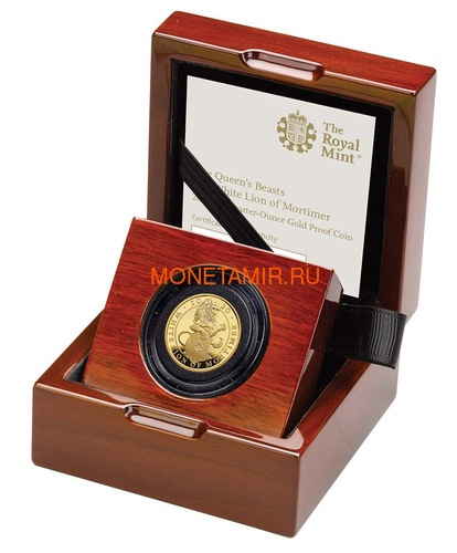 Великобритания 25 фунтов 2020 Белый Лев Мортимера серия Звери Королевы (GB 25£ 2020 Queen's Beast White Lion of Mortimer Quarter-Ounce Gold Coin).Арт.65 (фото, вид 2)
