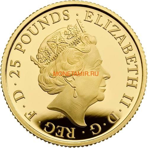 Великобритания 25 фунтов 2020 Белый Лев Мортимера серия Звери Королевы (GB 25£ 2020 Queen's Beast White Lion of Mortimer Quarter-Ounce Gold Coin).Арт.65 (фото, вид 1)