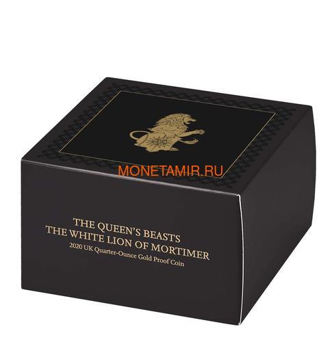 Великобритания 25 фунтов 2020 Белый Лев Мортимера серия Звери Королевы (GB 25£ 2020 Queen's Beast White Lion of Mortimer Quarter-Ounce Gold Coin).Арт.65 (фото, вид 4)