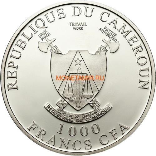 Камерун 1000 франков 2019 Тигр Бриллиант (Cameroon 1000 Francs 2019 Diamond Black Panther 1Oz Silver Coin).Арт.65 (фото, вид 1)
