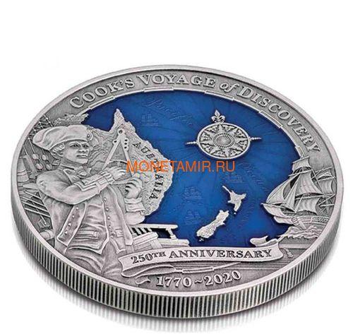 Соломоновы Острова 10 долларов 2020 Капитан Кук 250 лет Первому Путешествию (Solomon Isl 10$ 2020 Captain Cook Voyage of Discovery 250th Anniversary High Relief Enamel 3 Oz Silver Antique Coin).Арт.65 (фото, вид 1)