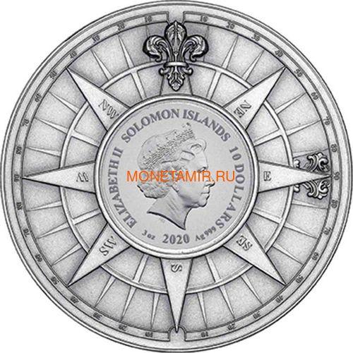 Соломоновы Острова 10 долларов 2020 Капитан Кук 250 лет Первому Путешествию (Solomon Isl 10$ 2020 Captain Cook Voyage of Discovery 250th Anniversary High Relief Enamel 3 Oz Silver Antique Coin).Арт.65 (фото, вид 2)