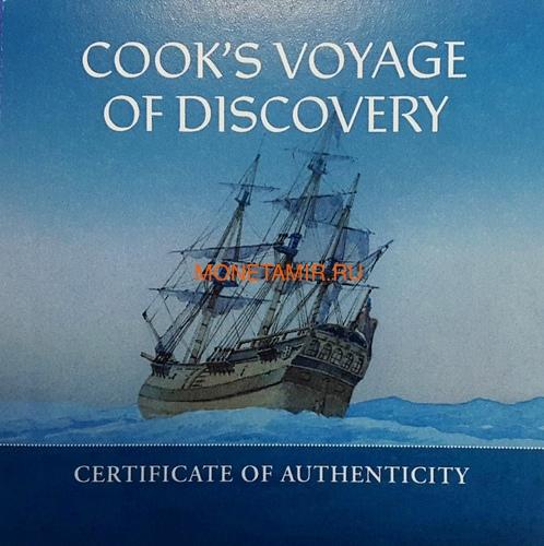 Соломоновы Острова 10 долларов 2020 Капитан Кук 250 лет Первому Путешествию (Solomon Isl 10$ 2020 Captain Cook Voyage of Discovery 250th Anniversary High Relief Enamel 3 Oz Silver Antique Coin).Арт.65 (фото, вид 3)
