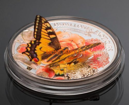 Андорра 5 динеров 2013 Бабочка Махаон серия Экзотические Бабочки 3D (Andorra 5 Diners 2013 Exotic Butterflies Papilio Machaon 3D Silver Coin).Арт.000233242561/60 (фото, вид 1)