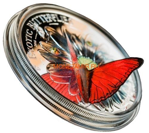 Танзания 1000 шиллингов 2016 Бабочка Красный Планер Хобарта Экзотические Бабочки 3D (Tanzania 1000Sh 2016 Exotic Butterflies Cymothoe Hobarti 3D Silver Coin).Арт.000451952664/60 (фото, вид 1)