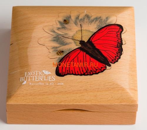 Танзания 1000 шиллингов 2016 Бабочка Красный Планер Хобарта Экзотические Бабочки 3D (Tanzania 1000Sh 2016 Exotic Butterflies Cymothoe Hobarti 3D Silver Coin).Арт.000451952664/60 (фото, вид 3)