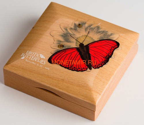 Танзания 1000 шиллингов 2016 Бабочка Красный Планер Хобарта Экзотические Бабочки 3D (Tanzania 1000Sh 2016 Exotic Butterflies Cymothoe Hobarti 3D Silver Coin).Арт.000451952664/60 (фото, вид 4)