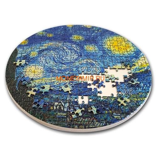 Палау 20 долларов 2019 Звездная Ночь Винсент Ван Гог серия Сокровища Микропазла (Palau 20$ 2019 Starry Night Van Gogh Micropuzzle Treasures 3 Oz Silver Coin).Арт.65 (фото, вид 1)