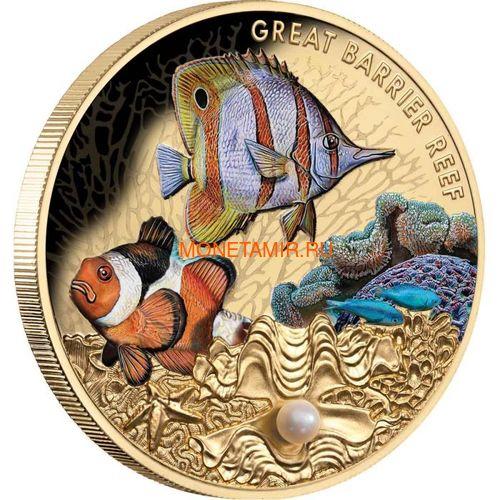 Ниуэ 100 долларов 2020 Морская Жемчужина Рыбы Большой Барьерный Риф Австралии (Niue 100$ 2020 Australia's Great Barrier Reef Saltwater Pearl 1oz Gold Proof Coin).Арт.65 (фото, вид 1)