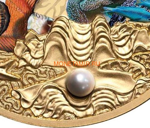 Ниуэ 100 долларов 2020 Морская Жемчужина Рыбы Большой Барьерный Риф Австралии (Niue 100$ 2020 Australia's Great Barrier Reef Saltwater Pearl 1oz Gold Proof Coin).Арт.65 (фото, вид 2)