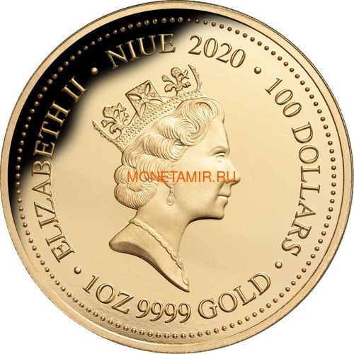 Ниуэ 100 долларов 2020 Морская Жемчужина Рыбы Большой Барьерный Риф Австралии (Niue 100$ 2020 Australia's Great Barrier Reef Saltwater Pearl 1oz Gold Proof Coin).Арт.65 (фото, вид 3)