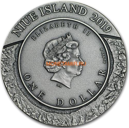 Ниуэ 1 доллар 2019 Космическая Добывающая Станция II Метеорит (Niue 1$ 2019 Space Mining Station II 1Oz Silver Coin).Арт.000712957851/65 (фото, вид 2)