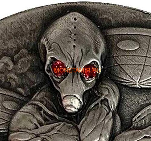 Чад 10000 франков 2018 Вторжение Инопланетян НЛО Космос (Chad 10000 Francs 2018 Alien Invasion Swarovski UFO 2oz Silver Coin).Арт.001069457845/65 (фото, вид 1)