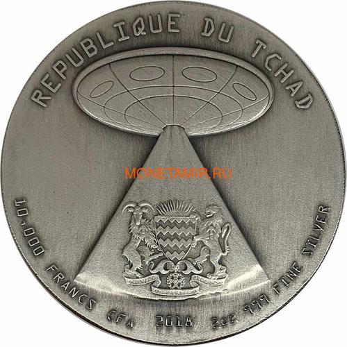Чад 10000 франков 2018 Вторжение Инопланетян НЛО Космос (Chad 10000 Francs 2018 Alien Invasion Swarovski UFO 2oz Silver Coin).Арт.001069457845/65 (фото, вид 2)
