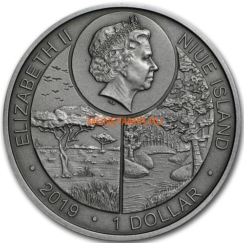 Ниуэ 1 доллар 2019 Стрекоза Животные Чемпионы (Niue 1$ 2019 Dragonfly Animal Champions 1 oz Silver Coin) Буклет.Арт.67 (фото, вид 1)