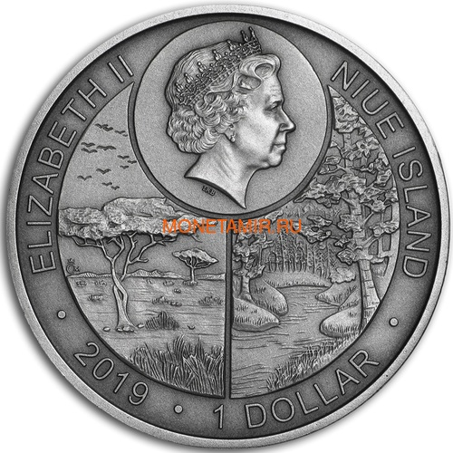 Ниуэ 1 доллар 2019 Сокол Сапсан Животные Чемпионы (Niue 1$ 2019 Peregrine Falcon Animal Champions 1 oz Silver Coin) Буклет.Арт.67 (фото, вид 1)