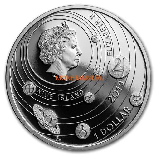 Ниуэ 1 доллар 2019 Солнечная Система Луна (Niue 1$ 2019 Solar System Moon 1Oz Silver Coin).Арт.67 (фото, вид 2)