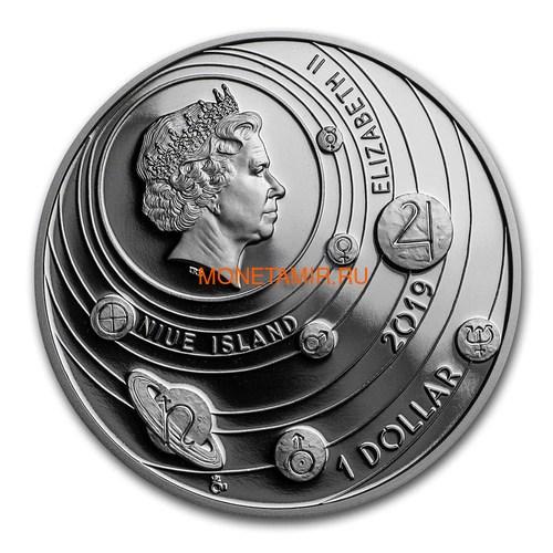 Ниуэ 1 доллар 2019 Солнечная Система Земля (Niue 1$ 2019 Solar System Earth 1Oz Silver Coin).Арт.CZ/67 (фото, вид 2)