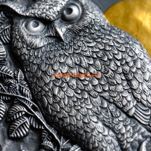 Ниуэ 5 долларов 2019 Ушастая Сова (Niue 5$ 2019 Long Eared Owl Asio Otus 2 oz Silver Coin).Арт.65 (фото, вид 2)