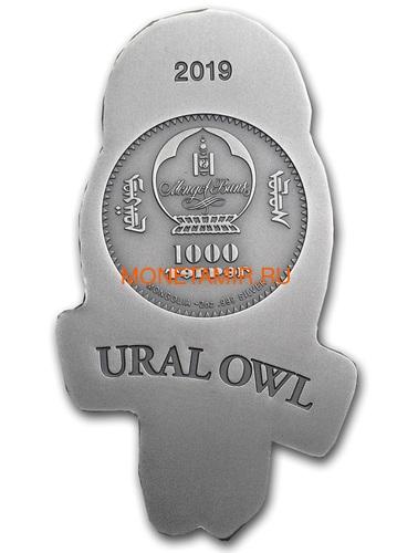 Монголия 1000 тугриков 2019 Уральская Сова Фигурка (Mongolia 1000T 2019 Ural Owl 3D 2 oz Silver Coin).Арт.65 (фото, вид 3)