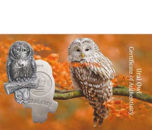 Монголия 1000 тугриков 2019 Уральская Сова Фигурка (Mongolia 1000T 2019 Ural Owl 3D 2 oz Silver Coin).Арт.65 (фото, вид 5)
