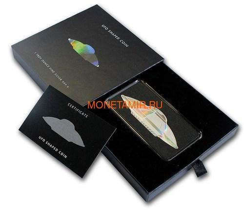 Соломоновы острова 2 доллара 2020 Летающая Тарелка Космос НЛО Голограмма (Solomon Islands 2$ 2020 UFO Alien Hologram Silver Coin).Арт.65 (фото, вид 2)