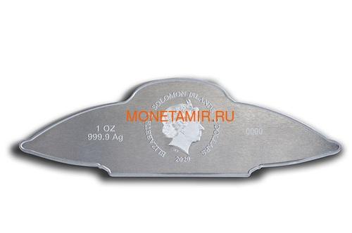 Соломоновы острова 2 доллара 2020 Летающая Тарелка Космос НЛО Голограмма (Solomon Islands 2$ 2020 UFO Alien Hologram Silver Coin).Арт.65 (фото, вид 1)