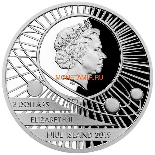 Ниуэ 2 доллара 2019 Первый Человек на Луне Космос (Niue 2$ 2019 First Man on the Moon 1 oz Silver Coin).Арт.65 (фото, вид 2)