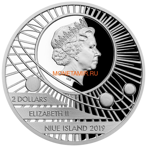 Ниуэ 2 доллара 2019 Первый Человек на Луне Космос (Niue 2$ 2019 First Man on the Moon 1 oz Silver Coin).Арт.CZ/65 (фото, вид 2)