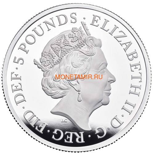 Великобритания 5 фунтов 2019 Уна и Лев (GB 5£ 2019 Una and the Lion 2oz Silver Proof Coin).Арт.65 (фото, вид 1)
