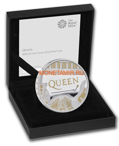 Великобритания 2 фунта 2020 Куин Легенды Музыки (GB 2£ 2020 Queen Music Legends 1oz Silver Proof Coin).Арт.65 (фото, вид 3)