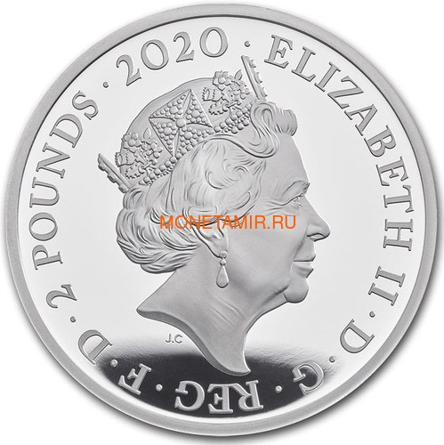 Великобритания 2 фунта 2020 Куин Легенды Музыки (GB 2£ 2020 Queen Music Legends 1oz Silver Proof Coin).Арт.92E (фото, вид 2)