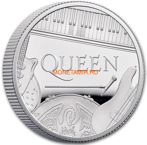 Великобритания 1 фунт 2020 Куин Легенды Музыки (GB 1£ 2020 Queen Music Legends Half Oz Silver Proof Coin).Арт.65 (фото, вид 2)