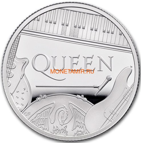 Великобритания 1 фунт 2020 Куин Легенды Музыки (GB 1£ 2020 Queen Music Legends Half Oz Silver Proof Coin).Арт.65 (фото, вид 1)