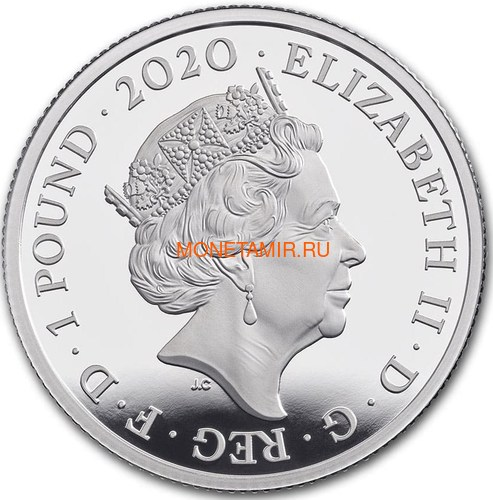Великобритания 1 фунт 2020 Куин Легенды Музыки (GB 1£ 2020 Queen Music Legends Half Oz Silver Proof Coin).Арт.65 (фото, вид 3)