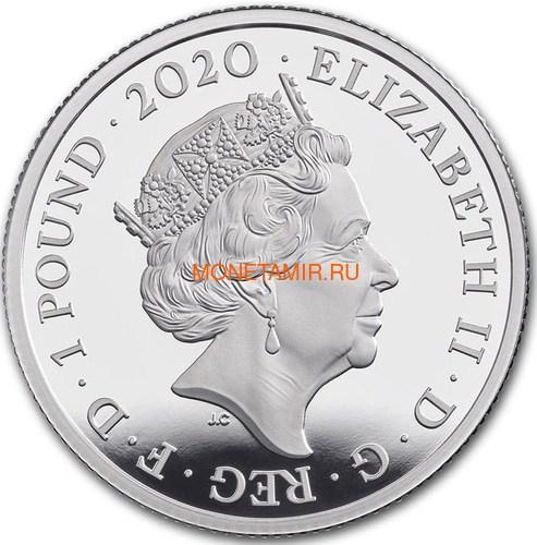 Великобритания 1 фунт 2020 Куин Легенды Музыки (GB 1£ 2020 Queen Music Legends Half Oz Silver Proof Coin).Арт.65 (фото, вид 3)