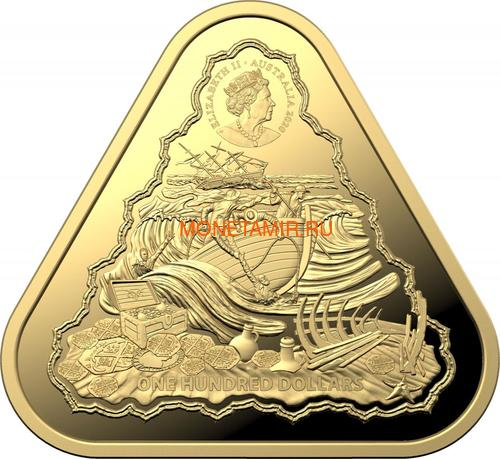 Австралия 100 долларов 2020 Корабль Вергюлде Драк Австралийские Кораблекрушения (Australia 100$ 2020 Vergulde Draeck Australian Shipwrecks 1 oz Gold Triangular Investment Coin).Арт.65 (фото, вид 1)