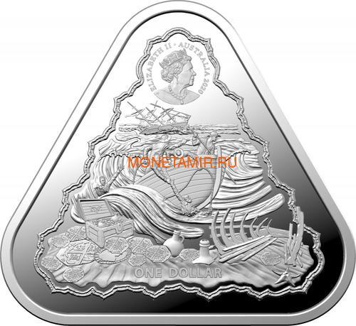 Австралия 1 доллар 2020 Корабль Вергюлде Драк Австралийские Кораблекрушения (Australia 1$ 2020 Vergulde Draeck Australian Shipwrecks 1 oz Silver Triangular Investment Coin).Арт.65 (фото, вид 1)