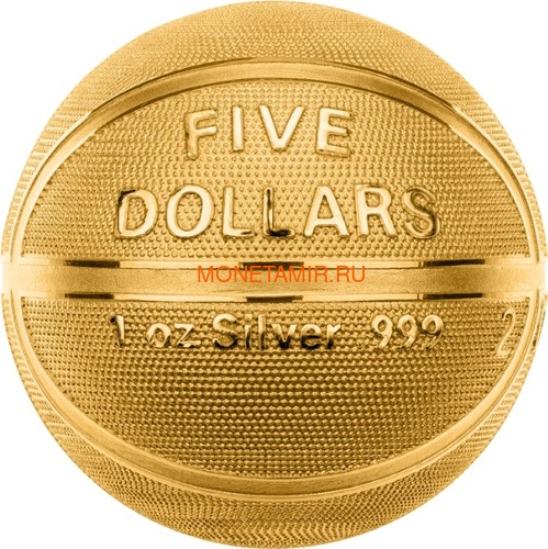 Самоа 5 долларов 2020 Баскетбол Мяч Шар (Samoa 5$ 2020 Basketball 3D 1 Oz Silver Coin Spherical).Арт.65 (фото, вид 1)