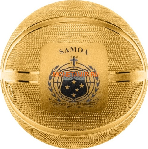 Самоа 5 долларов 2020 Баскетбол Мяч Шар (Samoa 5$ 2020 Basketball 3D 1 Oz Silver Coin Spherical).Арт.65 (фото, вид 2)