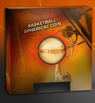 Самоа 5 долларов 2020 Баскетбол Мяч Шар (Samoa 5$ 2020 Basketball 3D 1 Oz Silver Coin Spherical).Арт.65 (фото, вид 5)
